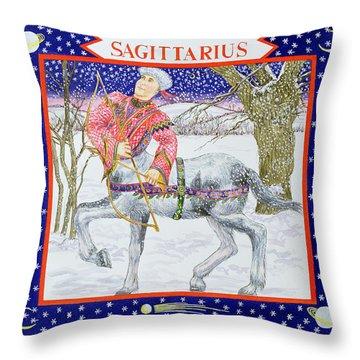 Sagittarius Wc On Paper Throw Pillow by Catherine Bradbury