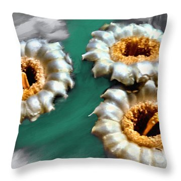 Saguaro Cactus Blossoms Throw Pillow by Bob and Nadine Johnston