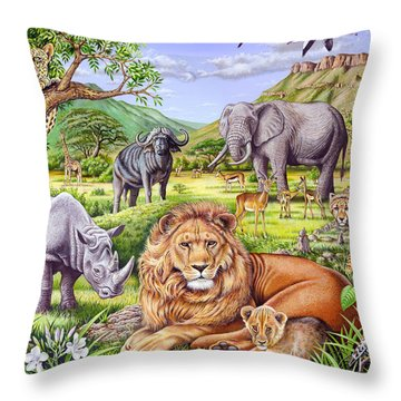 Saharan Animal Gathering Throw Pillow by Mark Gregory