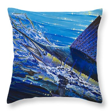 Sail On The Reef Off0082 Throw Pillow by Carey Chen