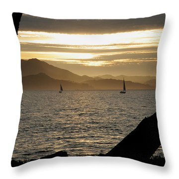 Sailing At Sunset On The Bay Throw Pillow by Robert Woodward