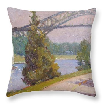 Sailing Cape Cod Canal Throw Pillow by Dianne Panarelli Miller