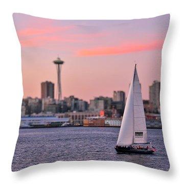 Sailing Puget Sound Throw Pillow by Adam Romanowicz