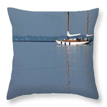 Sailing Reflections Throw Pillow by Karol Livote