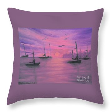 Sails At Dusk Throw Pillow by Holly Martinson