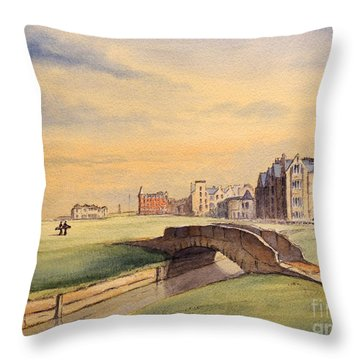 Saint Andrews Golf Course Scotland - 18th Hole Throw Pillow by Bill Holkham