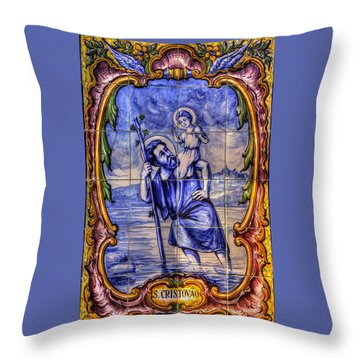 Saint Christopher Carrying The Christ Child Across The River - Near Entrance To The Carmel Mission Throw Pillow by Michael Mazaika