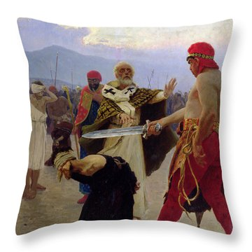 Saint Nicholas Of Myra Saves Three Innocents From Death Throw Pillow by Ilya Efimovich Repin
