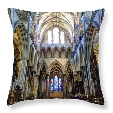 Salisbury Cathedral Throw Pillow by Juli Scalzi