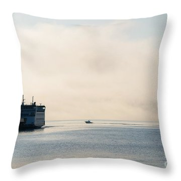 Salish Into The Fog Throw Pillow by Mike  Dawson