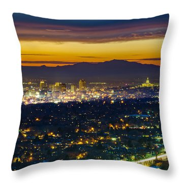 Salt Lake City At Dusk Throw Pillow by James Udall