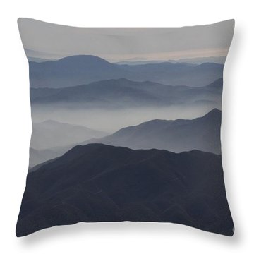 San Diego Hills In Fog And Haze Throw Pillow by Darleen Stry