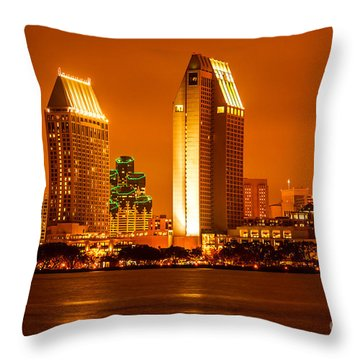 San Diego Skyline At Night Along San Diego Bay Throw Pillow by Paul Velgos