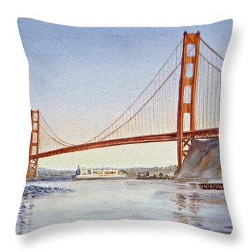 San Francisco California Golden Gate Bridge Throw Pillow by Irina Sztukowski