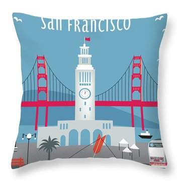 San Francisco Ferry Building Throw Pillow by Karen Young