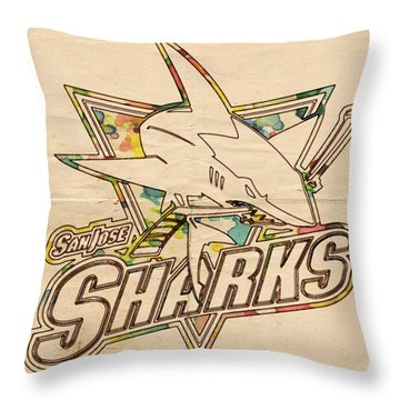 San Jose Sharks Vintage Poster Throw Pillow by Florian Rodarte
