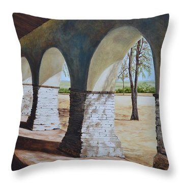 San Juan Bautista Mission Throw Pillow by Mary Rogers