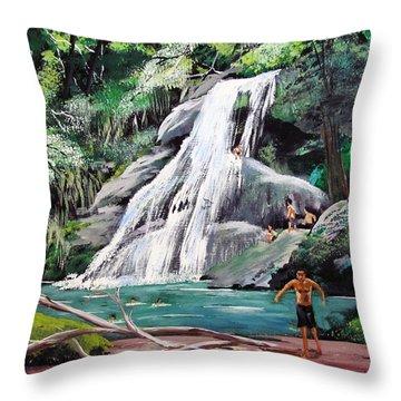 San Sebastian Waterfall Throw Pillow by Luis F Rodriguez