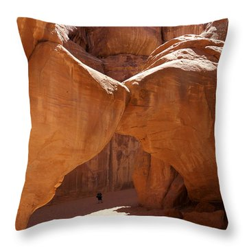 Sand Dune Arch With Gary Throw Pillow by Mike McGlothlen