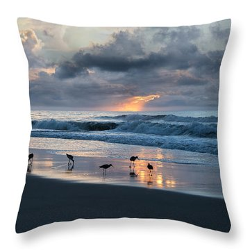 Sandpipers In Paradise Throw Pillow by Betsy Knapp
