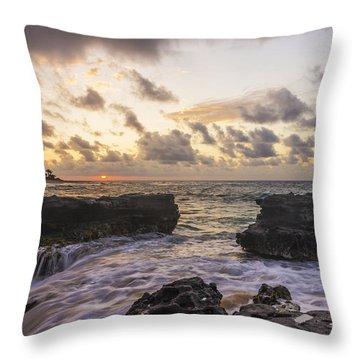 Sandy Beach Sunrise 1 - Oahu Hawaii Throw Pillow by Brian Harig