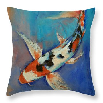 Sanke Butterfly Koi Throw Pillow by Michael Creese