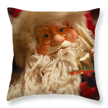 Santa Claus - Antique Ornament - 08 Throw Pillow by Jill Reger