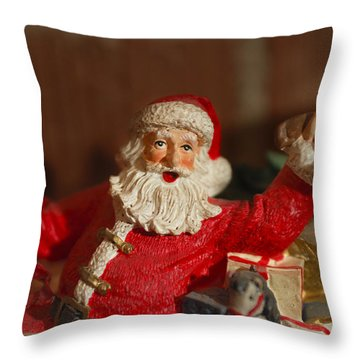 Santa Claus - Antique Ornament - 26 Throw Pillow by Jill Reger
