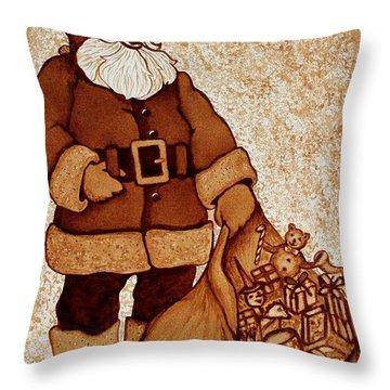 Santa Claus Bag Throw Pillow by Georgeta  Blanaru