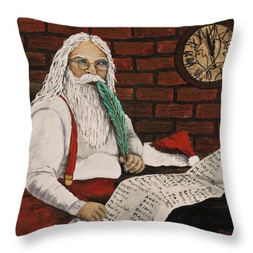 Santa Is Checking His List Throw Pillow by Darice Machel McGuire