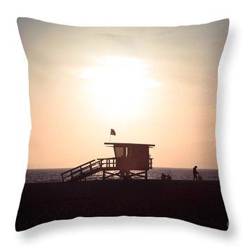 Santa Monica Lifeguard Stand Sunset Photo Throw Pillow by Paul Velgos