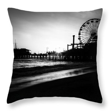 Santa Monica Pier In Black And White Throw Pillow by Paul Velgos