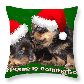 Santa Paws Is Coming To Town Christmas Greeting Throw Pillow by Tracey Harrington-Simpson