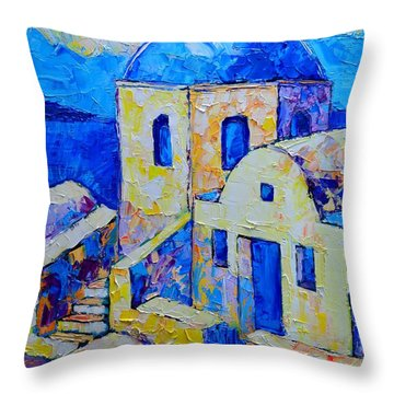 Santorini Afternoon Throw Pillow by Ana Maria Edulescu