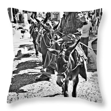 Santorini Donkey Train. Throw Pillow by Meirion Matthias