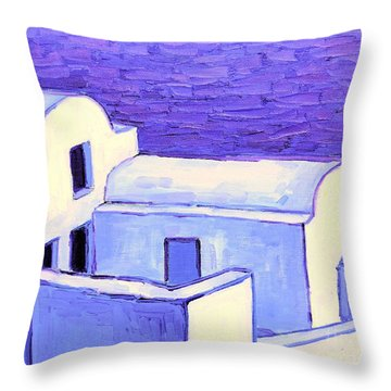 Santorini Houses Throw Pillow by Ana Maria Edulescu