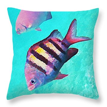 Sargeant Fish Throw Pillow by John Malone