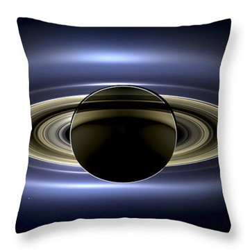 Saturn Mosaic With Earth Throw Pillow by Adam Romanowicz