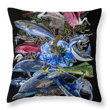 Save Our Seas In008 Throw Pillow by Carey Chen