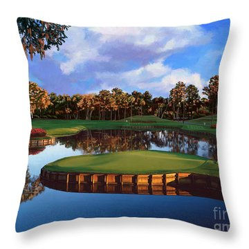 Sawgrass 17th Hole Throw Pillow by Tim Gilliland
