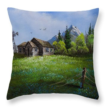 Sawtooth Mountain Homestead Throw Pillow by C Steele