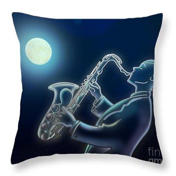 Sax-o-moon Throw Pillow by Bedros Awak