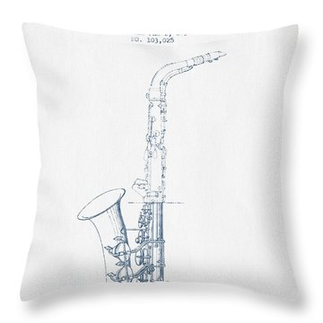 Saxophone Patent Drawing From 1937 - Blue Ink Throw Pillow by Aged Pixel