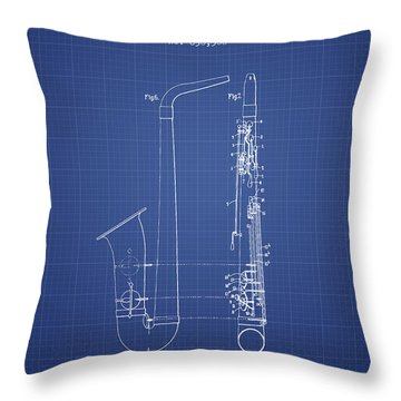Saxophone Patent From 1899 - Blueprint Throw Pillow by Aged Pixel