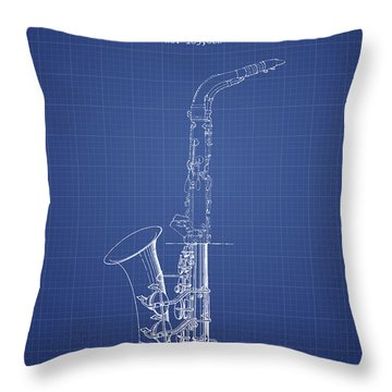 Saxophone Patent From 1937 - Blueprint Throw Pillow by Aged Pixel