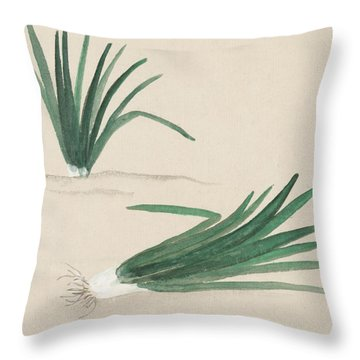 Scallions Throw Pillow by Aged Pixel