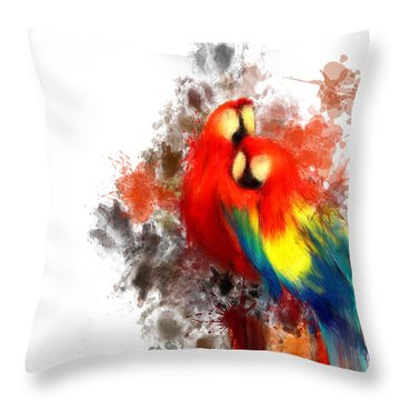 Scarlet Macaw Throw Pillow by Lourry Legarde
