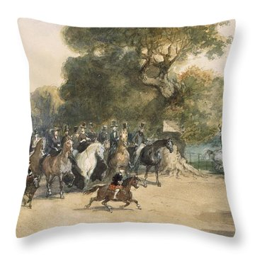 Scene In Hyde Park Throw Pillow by Eugene-Louis Lami