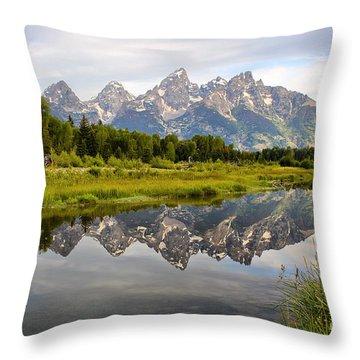 Schwabacher Landing Grand Tetons Throw Pillow by Teresa Zieba