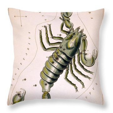 Scorpio Constellation  1825 Throw Pillow by Daniel Hagerman